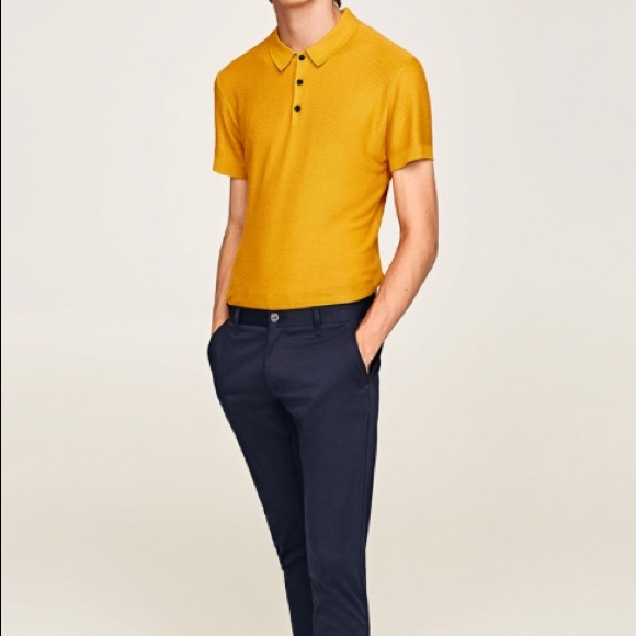 8d51bf7e0 Zara Shirts | Mens Knit Short Sleeve Polo Shirt Yellow | Poshmark